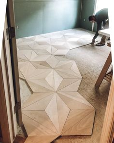 DIY Geometric Plywood Floor – Roost & RambleYou can find Plywood floors and more on our website. Plywood Flooring Diy, Diy Wood Floors, Plywood Walls, Plywood Sheets, Painted Floors, Laminate Flooring, Plywood Art, Timber Flooring, Wood Floor Pattern