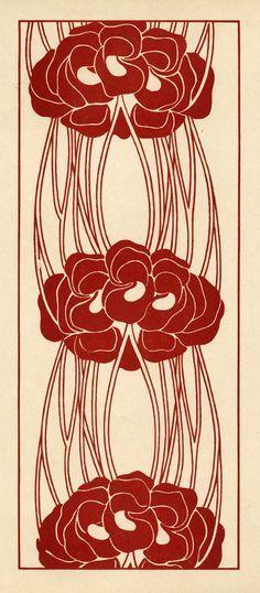 Red art nouveau floral