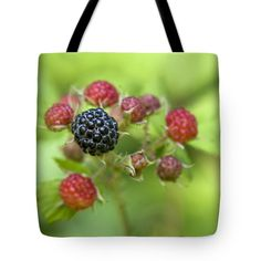 "Wild Berries Tote Bag by Christina Rollo (18"" x 18"").  The tote bag is machine washable, available in three different sizes, and includes a black strap for easy carrying on your shoulder.  All totes are available for worldwide shipping and include a money-back guarantee."