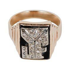 Art Deco Skyscraper Style Black Onyx Diamond Gold Monogram J F Ring | From a unique collection of vintage signet rings at https://www.1stdibs.com/jewelry/rings/signet-rings/