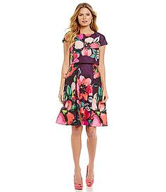 Love the pattern of this dress, but not the style of the faux separate top.  Vince Camuto FloralPrint Popover FitandFlare Dress #Dillards