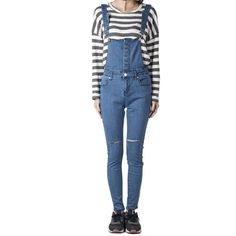 Blue Skinny Denim Overalls ($42) ❤ liked on Polyvore featuring jumpsuits, overalls skinny jeans, blue skinny jeans, skinny leg jeans, skinny fit jeans and blue jumpsuit