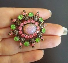 Vintage Coro Pink And Green Lucite Moonstone Starburst Design Brooch