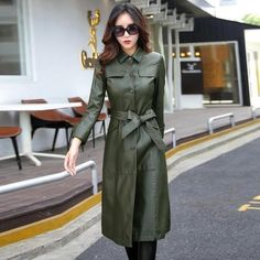 Buy Long Leather Jacket Women Fashion Coat Female Turn Collar Single Covered Button Leather Outerwear For Ladies Genuine Leather Coats And Jackets For Women At Shopperwear Fashion Coats For Women, Jackets For Women, Clothes For Women, Winter Leather Jackets, Mode Mantel, Warm Outfits, Outerwear Women, Plus Size Fashion, Look