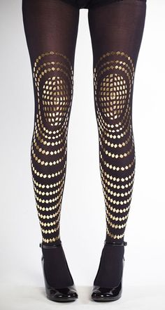 SALE Hand Printed sheer Tights Goldfish Gold on by galstern