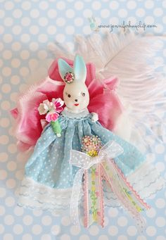#Spring #Easter #Bunny Brooch by Jennifer Hayslip