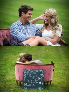 Engagement photos with antique couch