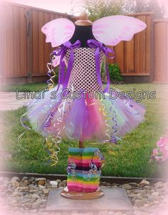 Pink Pixie Candyland inspired Fairy Tutu Dress with Wings Costume cute for a kid