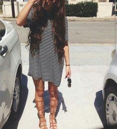 44719968e3572a shoes stripes t-shirt boho sandals boho swimsuit rayures dress stripes cute  dress knee high