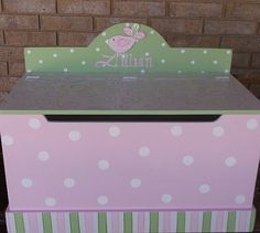 Toy Chest PInk and Green Bench Nursery Toy Box HOPE Chest Toy Bin Toy Storage Custom Wooden Hand Painted  Kids Furniture and Decor