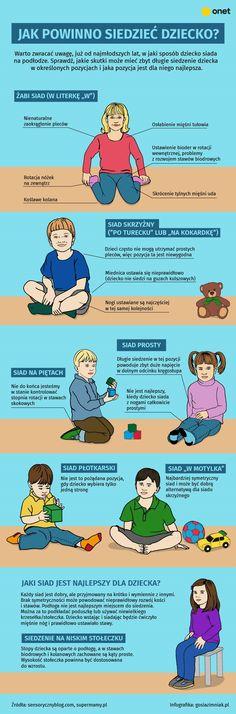 Infografika - jak powinno siedzieć dziecko | Infografika o dziecku Preschool Education, Baby Boom, Baby Time, Speech Therapy, Projects For Kids, Kids And Parenting, Montessori, Health Tips, Coaching
