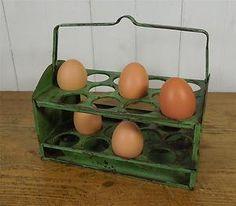 A vintage ~ c1950 ~ Double Egg Rack, Holder, Egg basket for 24 Eggs. Made by Worcester Ware