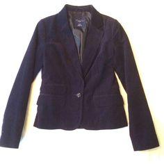 Women's American Eagles Outfitters Navy Cotton Corduroy Lined Blazer Size XS EUC #AmericanEagleOutfitter #Blazer