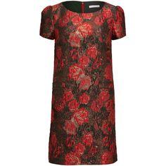 5547687969de3 Gina Bacconi Matelasse Metallic Jacquard Dress ($295) ❤ liked on Polyvore  featuring dresses, red, women, a line dress, stretchy dresses, gina bacconi  ...