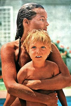 The power of mother's love: Romy Schneider with her son David. Jours de France August 1970