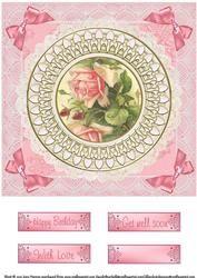 Circle Frame Vintage Floral Card 10