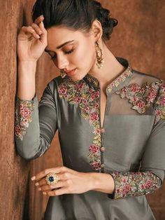 Salwar Kameez, Buy Latest Salwar Suits and Dresses Online - Zaraafab UK Embroidery Suits Punjabi, Kurti Embroidery Design, Embroidery Fashion, Salwar Designs, Kurta Designs Women, Stylish Dress Designs, Designs For Dresses, Girls Boutique Dresses, Frock Fashion