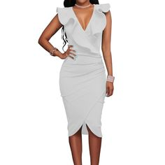 The Ruffles V Neck Pencil Dress from The Pink Room is perfect for nearly any spring time occasion.