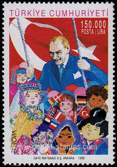 Poppe Stamps: Turkey, 1998, 3346, Children, Europa, Festival, Kemal Ataturk, People - stamps for sale by theme and country