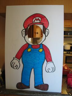 Mario head cutout for Mario party | Book your Video Game Party Package Today! Chicagoland and Northwest Indiana visit: www.RollingVideoGamesChicago.com #chicago