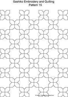 Free Sashiko Patterns Set 2 - Patterns for Sashiko Embroidery and Quilting Designs 9 through 16
