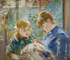 The Artist's Daughter, Julie, with her Nanny, c.1884 (oil on canvas), Morisot, Berthe (1841-95) / Minneapolis Institute of Arts, MN, USA / The Bridgeman Art Library