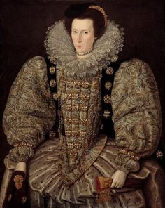 Elizabethan Era of the Tudor Age with an example of the 'stuffed' sleeves. Often bombast was used, rags or material wadding, to fill-out the sleeves. Note: In her right hand she appears to be holding a 'flea fur', a piece of animal fur, probably marten fur, to attract fleas away from the clothing and body.
