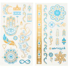 Gold and Teal Festival Temporary Tattoos | Claire's (10 NZD) ❤ liked on Polyvore featuring accessories and body art