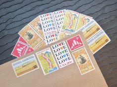 Open Country .. LOVE .. UNused Vintage Postage by VerdeStudio, $6.95