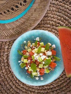 Summer Melon Salad with fresh Cuttlefish Melon Salad, Feta Salad, Lemon Salt, Cuttlefish, Roasted Peanuts, 200 Calories, Summer Salads, Bon Appetit
