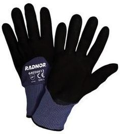 Radnor® X-Large 15 Gauge Black Nylon Microfoam Nitrile 3/4 Coated Work Gloves With Blue Seamless Nylon Liner