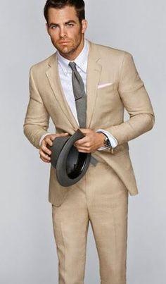 Light Tan Summer Suiting, Heather Grey Light Charcoal Tie #lookswelike #TrioCustoms