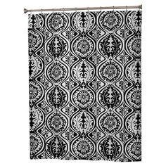 Black and white shower curtain with an ogee damask motif.  Product: Shower curtainConstruction Material: Polyest...