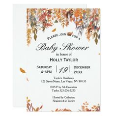 Autumn Leaves Baby Shower Invitation - baby gifts child new born gift idea diy cyo special unique design