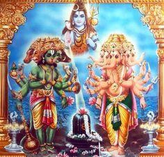 Hanuman Ganesha Linga Pooja 1970s Indian print (via ebay: oldbollywoodposters) Shiva Parvati Images, Lord Krishna Images, Durga Images, Shiva Shakti, Shiva Linga, Hanuman Pics, Hanuman Chalisa, Lord Ganesha Paintings, Lord Shiva Painting