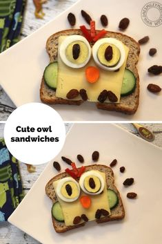 Healthy Snacks For Kids cute owl sandwiches for kids - These cute owl sandwiches for kids are the easiest and tastiest creative sandwiches I make for my boys. These are lots of fun and the boys both love them. I really like that these have eggs, cheese… Cute Food, Good Food, Yummy Food, Sandwich Recipes For Kids, Cooking With Toddlers, Cold Sandwiches, Dinner Sandwiches, Panini Sandwiches, Breakfast Sandwiches