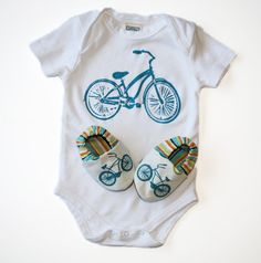Bicycle Baby Gift Set- Organic Cruiser Bike Shoes and Organic Bodysuit - 0 3 6 12 18 months Eco Friendly Baby Clothing