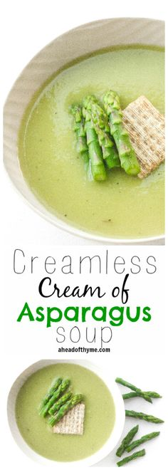 Cream of Asparagus Soup Creamless Cream of Asparagus Soup: Take advantage of in-season asparagus this spring and savour its flavour in a delicious and smooth, creamless cream of asparagus soup Healthy Soup Recipes, Whole Food Recipes, Vegetarian Recipes, Cooking Recipes, Drink Recipes, Cleanse Recipes, Chili Recipes, Vegan Soups, Creamed Asparagus