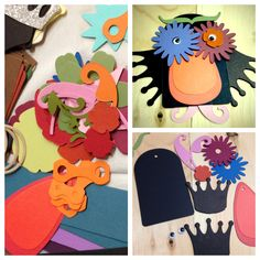 Paper crafts. An easy and fun way to use your scraps. For birthday cards, mobiles, or puppets.
