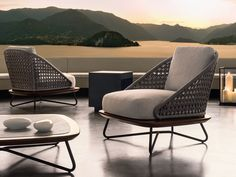 Upholstered garden armchair Rivera Collection by Minotti | design Rodolfo Dordoni