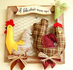 Quadro galo e galinha!!                                                                                                                                                      Mais