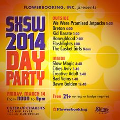 SX 2014 - FlowerBooking Day Party (FREE) at Cheer Up Charlies