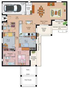 Découvrez les plans de cette maison de plain-pied avec trois chambres sur www.construiresamaison.com >>>