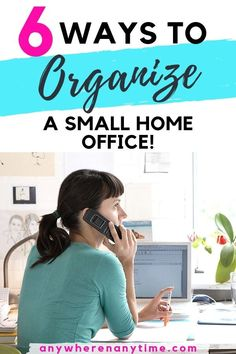 Do you need a few tips and tricks for organizing that small home office? These 6 hacks will declutter your work space and make it comfortable for doing your best work. (Bonus: tips are budget solutions that you can totally DIY! Work From Home Business, Work From Home Moms, Online Business, Business Ideas, Office Organization At Work, Business Organization, Office Ideas, Organization Ideas, Small Workspace
