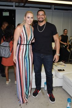 Skier Lindsey Vonn and wrestler Roman Reigns pose in the Green Room at the Nickelodeon Kids' Choice Sports 2018 at Barker Hangar on July 2018 in Santa Monica, California. Get premium, high resolution news photos at Getty Images Roman Reigns Shirtless, Roman Reigns Gif, Roman Reigns Family, Roman Regins, New Roman, Roman Reigns Wrestlemania, Roman Reigns Dean Ambrose, Wwe Superstar Roman Reigns, Paige Wwe