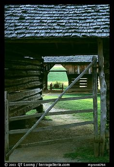 Barn seen through another barn, Cades Cove, Tennessee. Great Smoky Mountains National Park, USA.