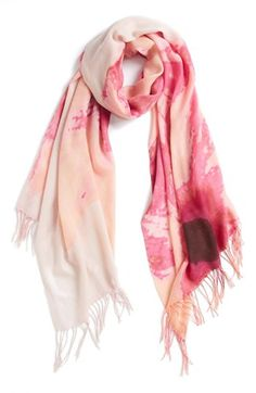 $98, Floral Scarf Pink One Size One Size by Nordstrom. Sold by Nordstrom. Click for more info: http://lookastic.com/women/shop_items/48912/redirect