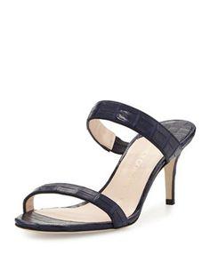 Maria Crocodile Mule Sandal Navy Sandals, Mule Sandals, Nancy Gonzalez, Crocodile, Luxury Fashion, Shoes, Crocodiles, Shoe, Shoes Outlet