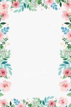 Spring borders PNG and Clipart Flower Background Wallpaper, Cute Wallpaper Backgrounds, Flower Backgrounds, Pretty Wallpapers, Boarder Designs, Page Borders Design, Borders For Paper, Borders And Frames, Free Watercolor Flowers