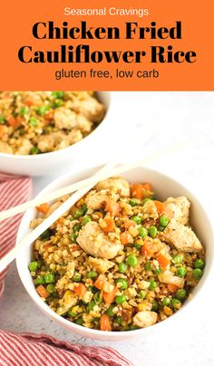 Chicken Fried Cauliflower Rice How are those New Year's Goals working? If you are trying to eat low carb, you'll love this Chicken Fried Cauliflower Rice. It's full of veggies and Asian flavor, plus low carb! free carb via Califlower Fried Rice, Chicken Fried Cauliflower Rice, Cauliflower Recipes, Fried Chicken, Rice Recipes, Chicken Recipes, Cooking Recipes, Healthy Recipes, Dinner Recipes